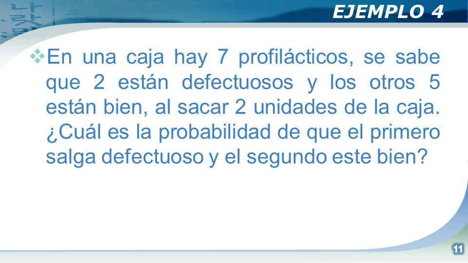 EJEMPLO 4 En una caja hay 7 profilácticos, se sabe que 2 están defectuosos y los otros 5 están bien, al sacar 2 unidades de la caja. ¿Cuál es la proba