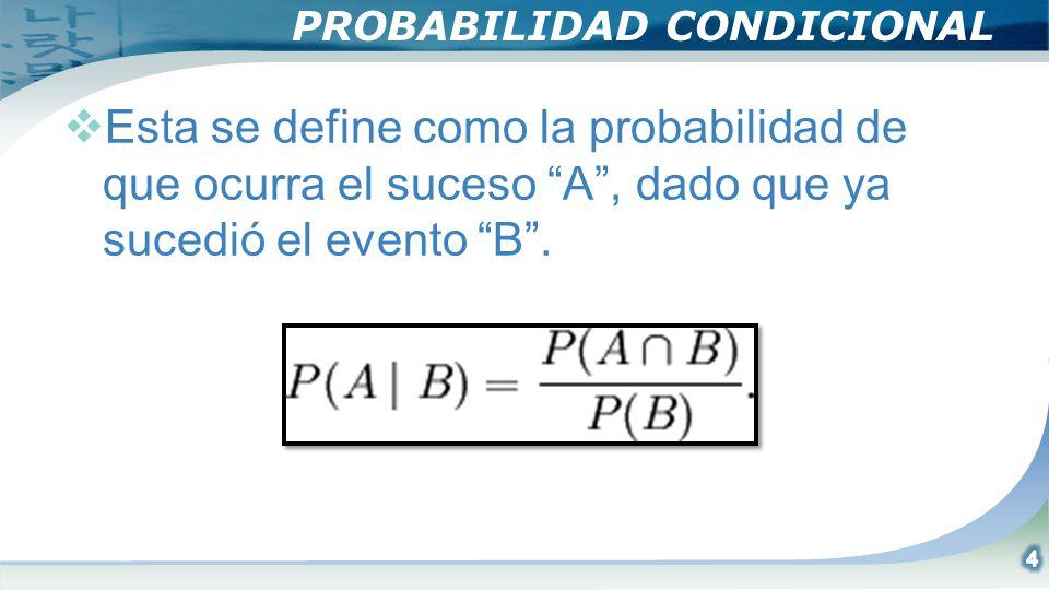 TEOREMA DE BAYES Es una extensión de la probabilidad condicional que ya se presento, tomando en cuenta que los eventos no son independientes, la probabilidad de P(AB)=P(B)P(AB), y recordando el resultado importante que deducimos de las tablas de contingencia, se tiene la formula de Bayes: