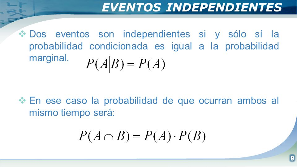 EVENTOS INDEPENDIENTES Dos eventos son independientes si y sólo sí la probabilidad condicionada es igual a la probabilidad marginal. En ese caso la pr