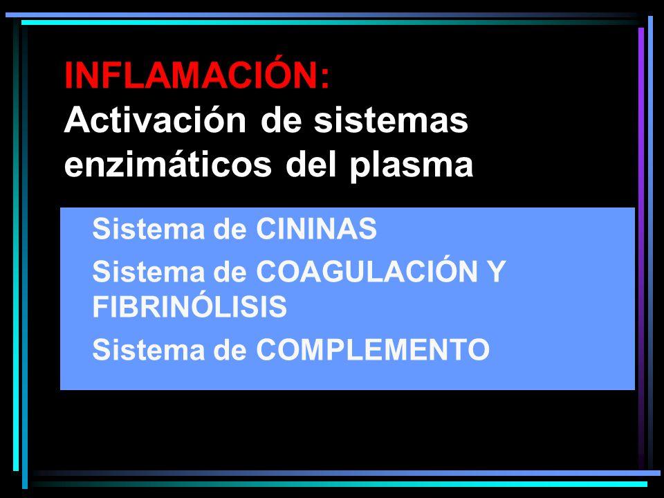 INFLAMACIÓN: Activación de sistemas enzimáticos del plasma Sistema de CININAS Sistema de COAGULACIÓN Y FIBRINÓLISIS Sistema de COMPLEMENTO