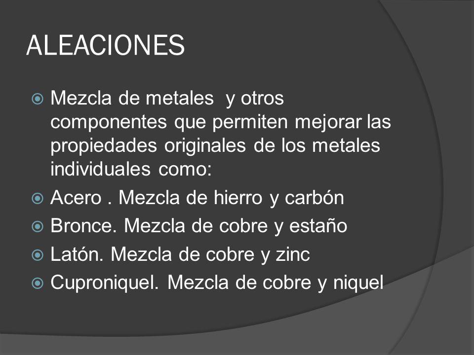 ALEACIONES Mezcla de metales y otros componentes que permiten mejorar las propiedades originales de los metales individuales como: Acero. Mezcla de hi