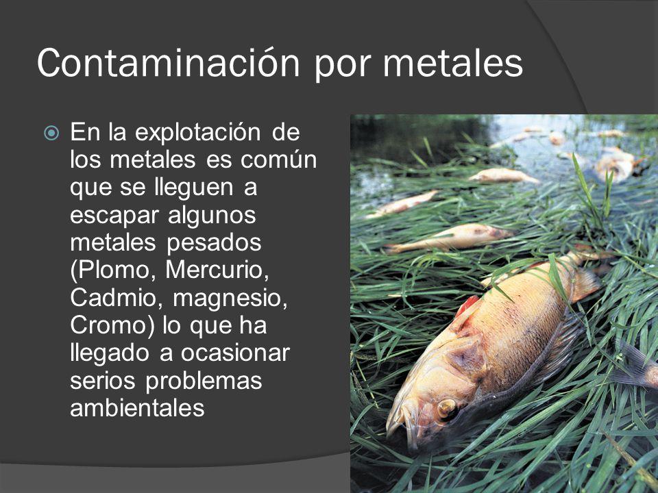 Contaminación por metales En la explotación de los metales es común que se lleguen a escapar algunos metales pesados (Plomo, Mercurio, Cadmio, magnesi