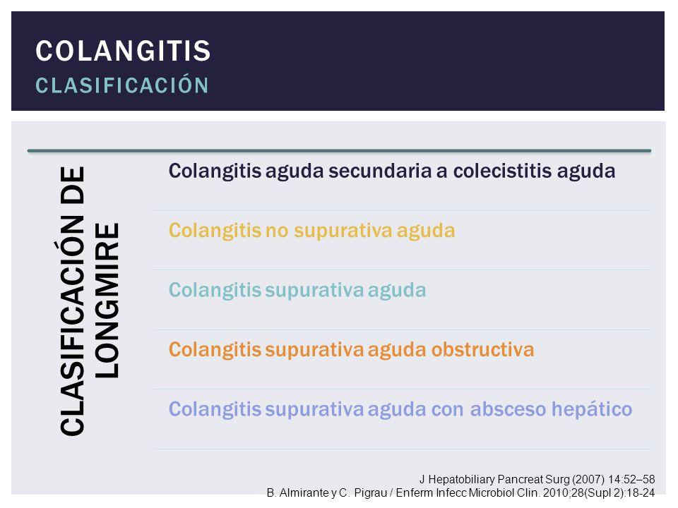 COLANGITIS CLASIFICACIÓN J Hepatobiliary Pancreat Surg (2007) 14:52–58 B. Almirante y C. Pigrau / Enferm Infecc Microbiol Clin. 2010;28(Supl 2):18-24