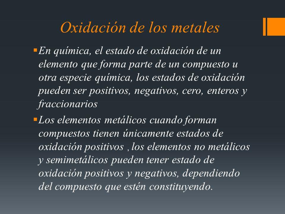 Oxidación de los metales En química, el estado de oxidación de un elemento que forma parte de un compuesto u otra especie química, los estados de oxid