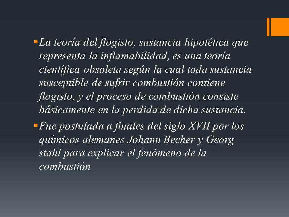 La teoría del flogisto, sustancia hipotética que representa la inflamabilidad, es una teoría científica obsoleta según la cual toda sustancia suscepti