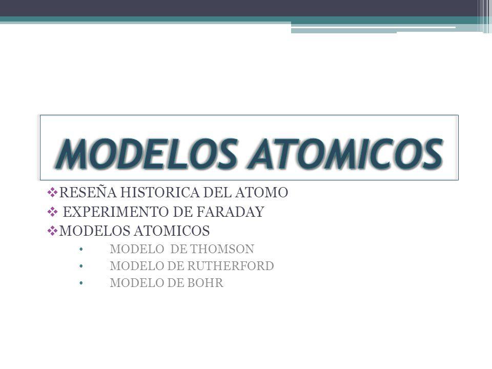 RESEÑA HISTORICA DEL ATOMO EXPERIMENTO DE FARADAY MODELOS ATOMICOS MODELO DE THOMSON MODELO DE RUTHERFORD MODELO DE BOHR