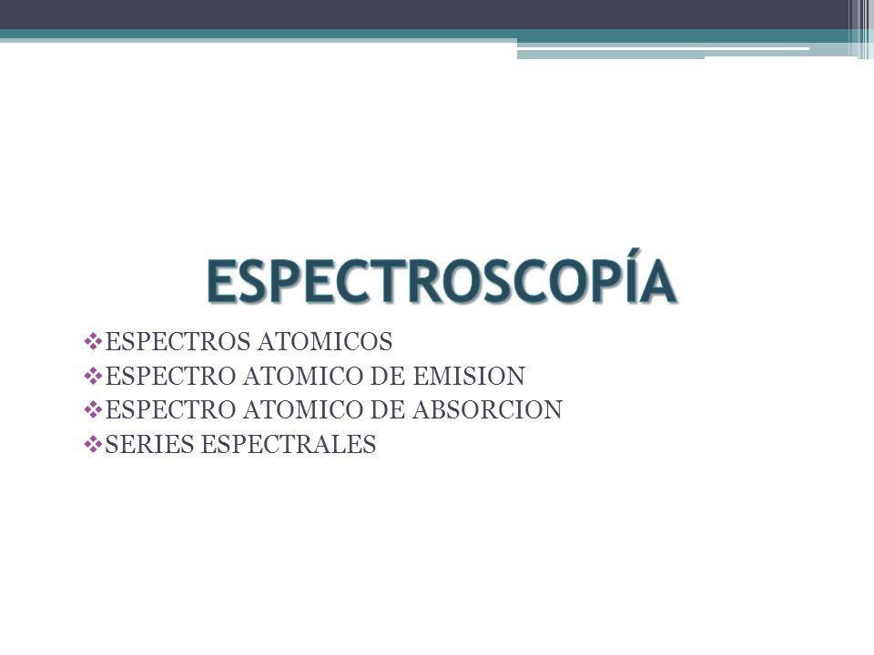ESPECTROS ATOMICOS ESPECTRO ATOMICO DE EMISION ESPECTRO ATOMICO DE ABSORCION SERIES ESPECTRALES