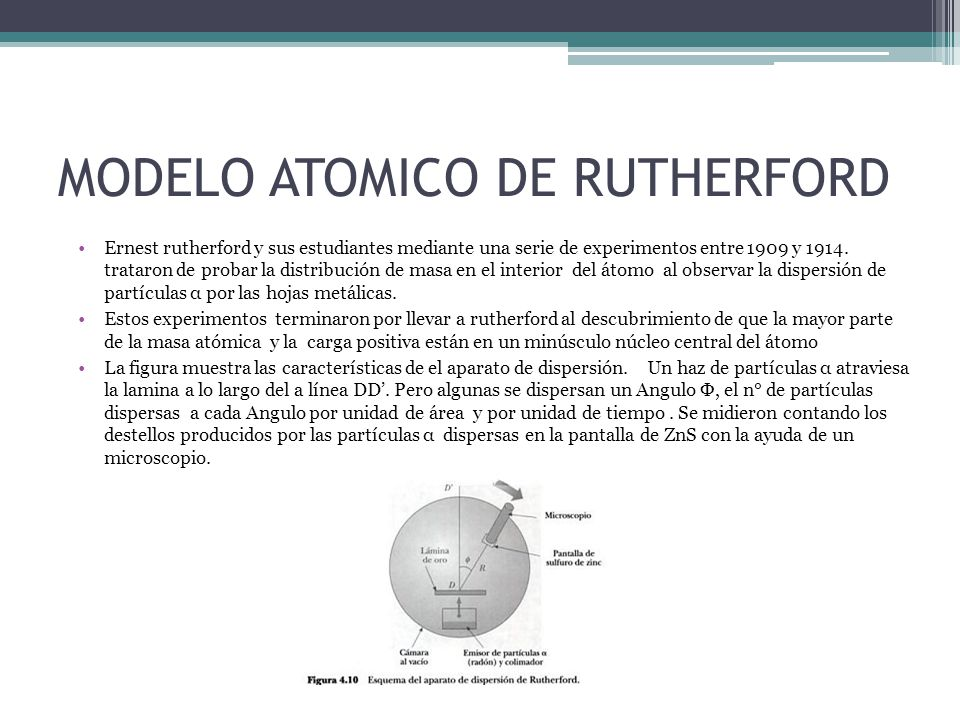 MODELO ATOMICO DE RUTHERFORD Ernest rutherford y sus estudiantes mediante una serie de experimentos entre 1909 y 1914. trataron de probar la distribuc