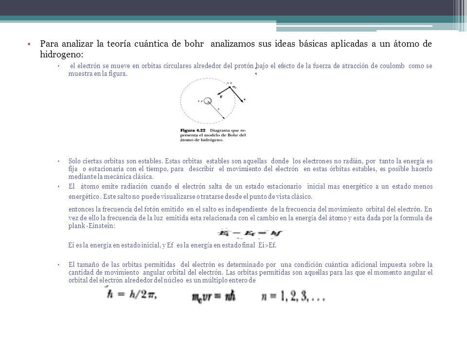 Para analizar la teoría cuántica de bohr analizamos sus ideas básicas aplicadas a un átomo de hidrogeno: el electrón se mueve en orbitas circulares al