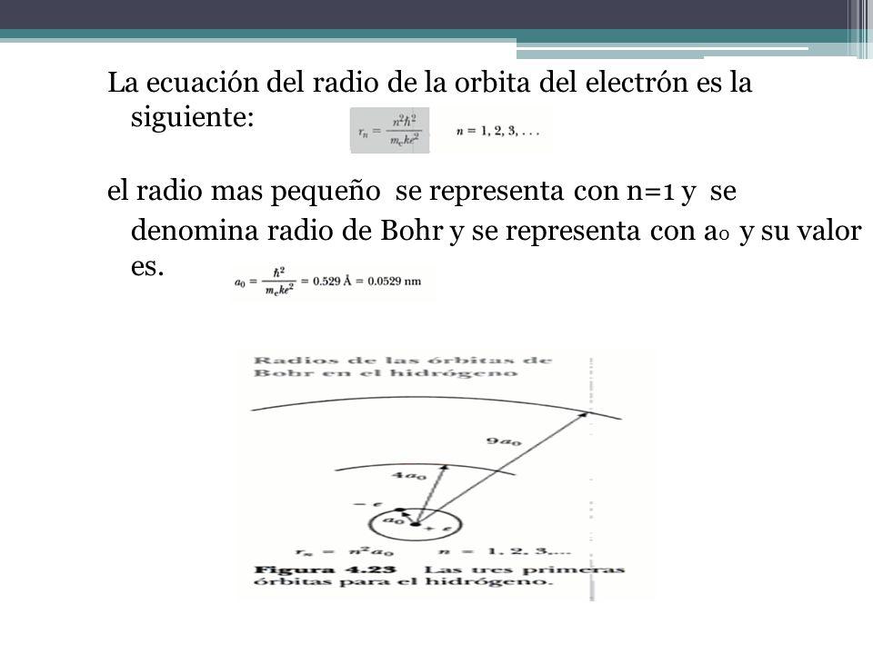 La ecuación del radio de la orbita del electrón es la siguiente: el radio mas pequeño se representa con n=1 y se denomina radio de Bohr y se represent