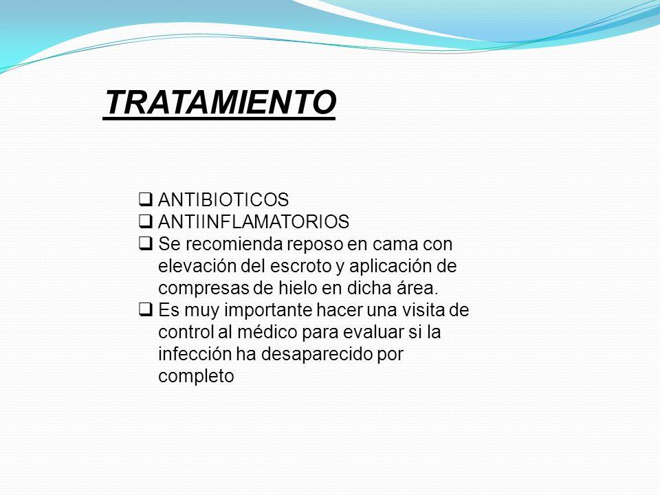 TRATAMIENTO ANTIBIOTICOS ANTIINFLAMATORIOS Se recomienda reposo en cama con elevación del escroto y aplicación de compresas de hielo en dicha área. Es