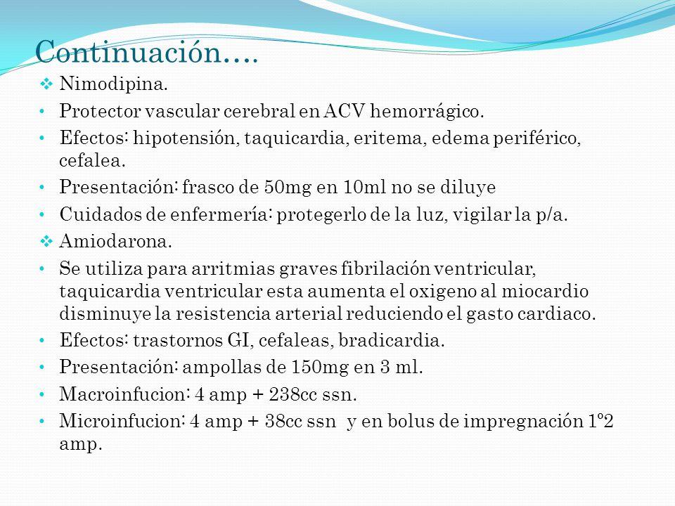Continuación…. Nimodipina. Protector vascular cerebral en ACV hemorrágico. Efectos: hipotensión, taquicardia, eritema, edema periférico, cefalea. Pres