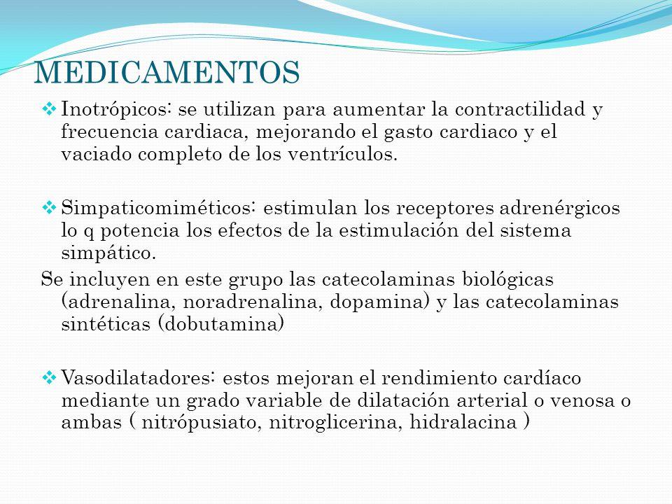 MEDICAMENTOS Inotrópicos: se utilizan para aumentar la contractilidad y frecuencia cardiaca, mejorando el gasto cardiaco y el vaciado completo de los