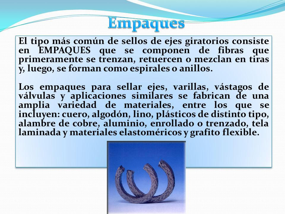 El tipo más común de sellos de ejes giratorios consiste en EMPAQUES que se componen de fibras que primeramente se trenzan, retuercen o mezclan en tira