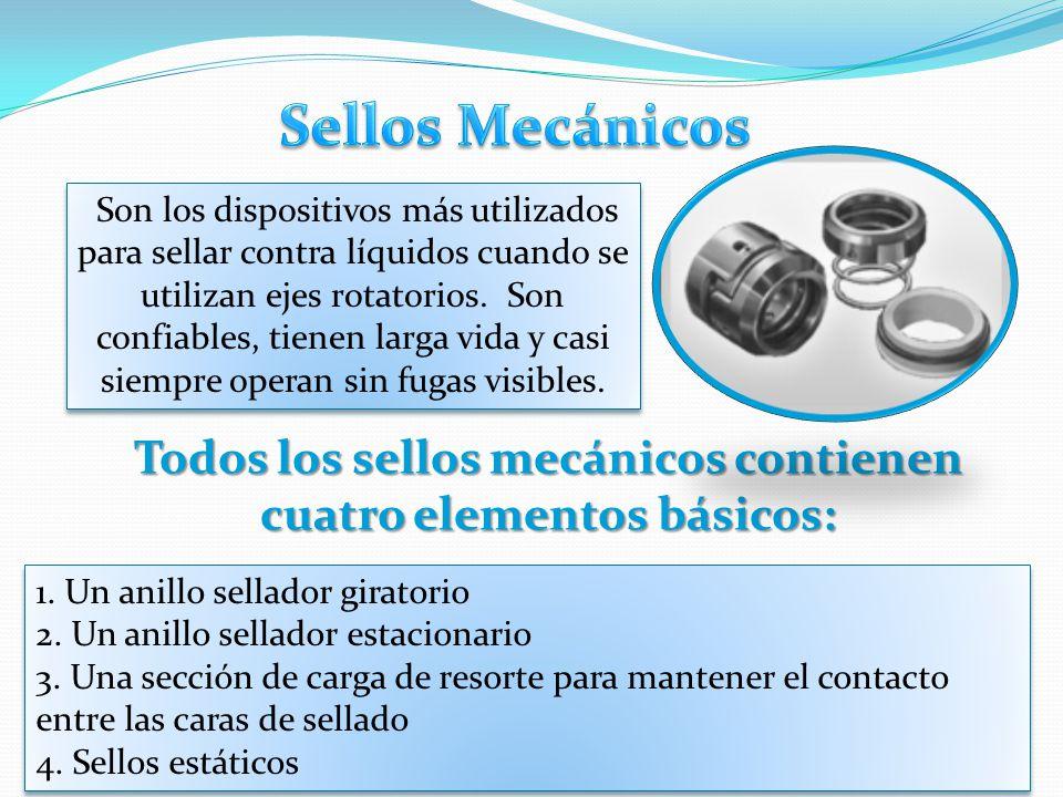 Todos los sellos mecánicos contienen cuatro elementos básicos: Son los dispositivos más utilizados para sellar contra líquidos cuando se utilizan ejes