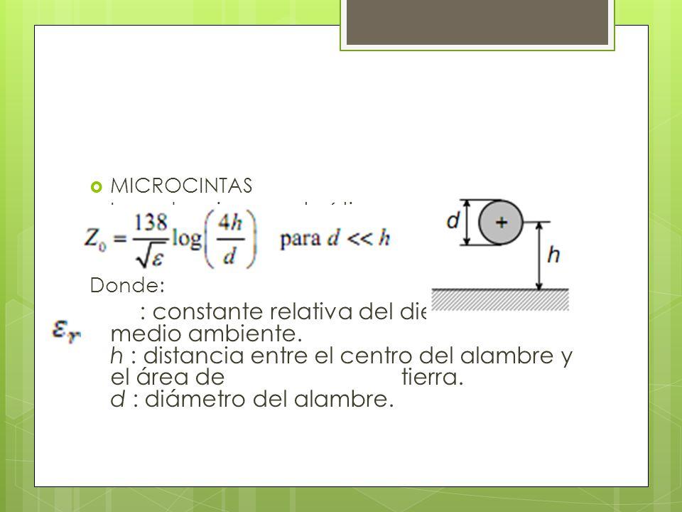 MICROCINTAS o Impedancia característica: Donde: : constante relativa del dieléctrico del medio ambiente. h : distancia entre el centro del alambre y e