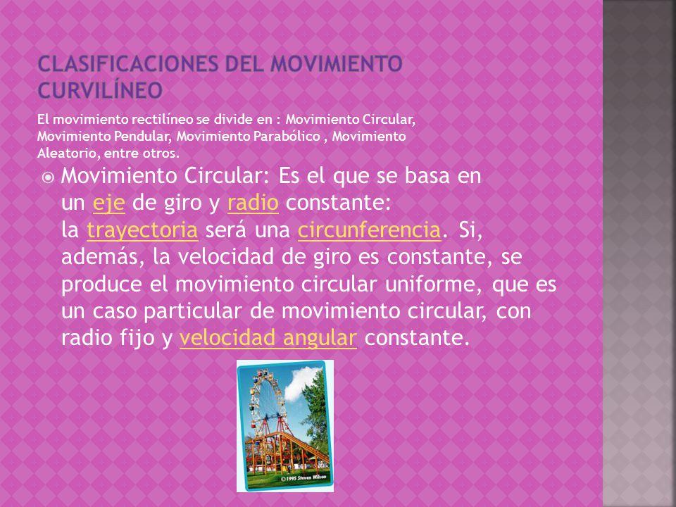 El movimiento rectilíneo se divide en : Movimiento Circular, Movimiento Pendular, Movimiento Parabólico, Movimiento Aleatorio, entre otros.