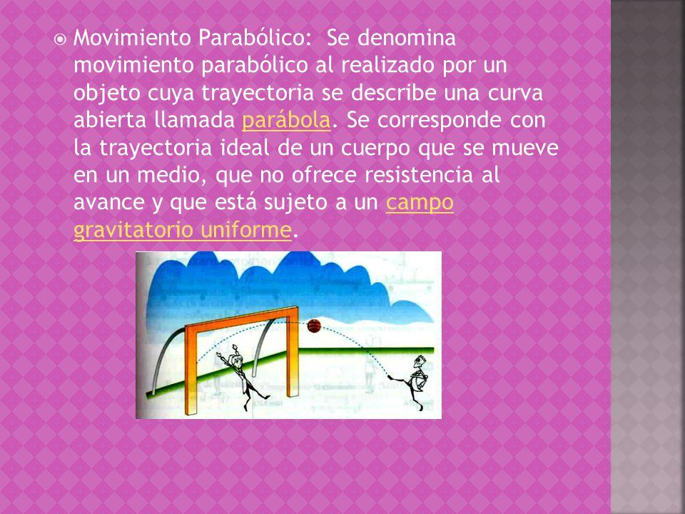 Movimiento Parabólico: Se denomina movimiento parabólico al realizado por un objeto cuya trayectoria se describe una curva abierta llamada parábola.