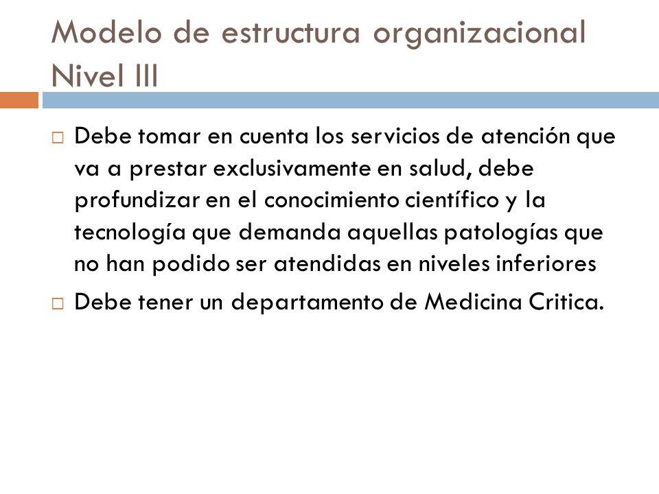 Modelo de estructura organizacional Nivel III Debe tomar en cuenta los servicios de atención que va a prestar exclusivamente en salud, debe profundiza