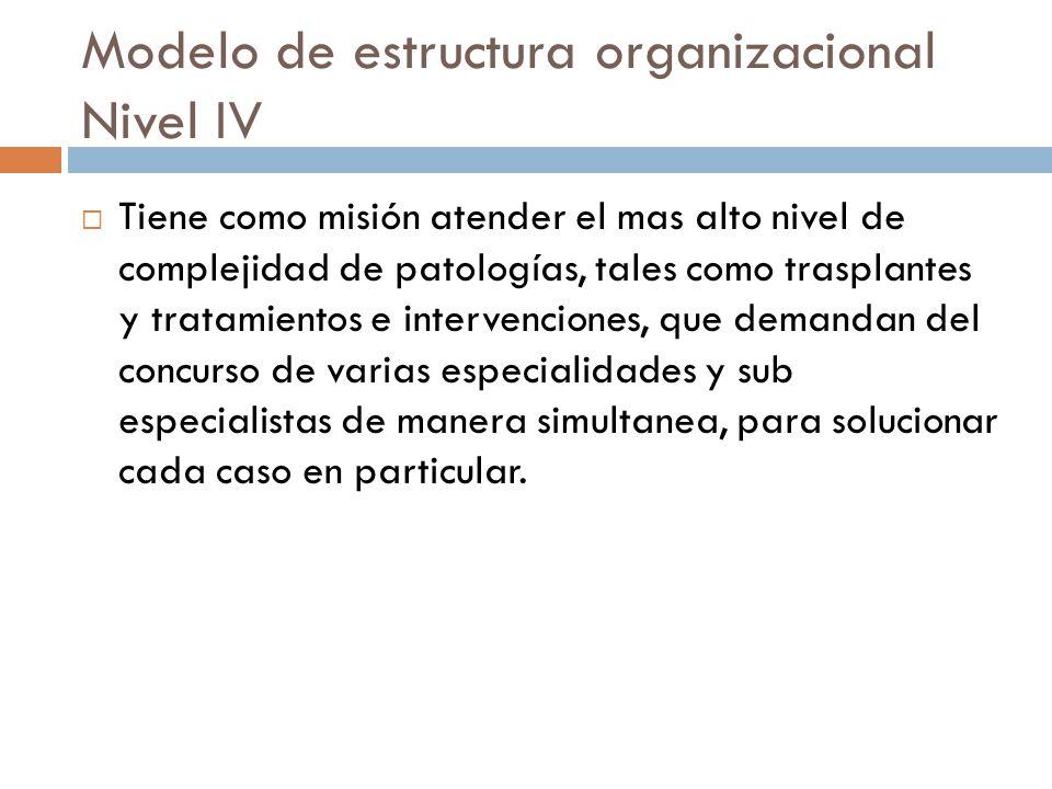 Modelo de estructura organizacional Nivel IV Tiene como misión atender el mas alto nivel de complejidad de patologías, tales como trasplantes y tratamientos e intervenciones, que demandan del concurso de varias especialidades y sub especialistas de manera simultanea, para solucionar cada caso en particular.
