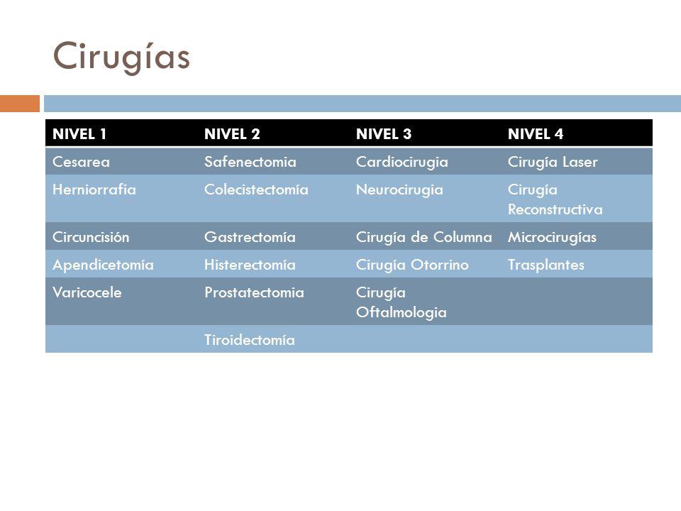 Cirugías NIVEL 1NIVEL 2NIVEL 3NIVEL 4 CesareaSafenectomiaCardiocirugiaCirugía Laser HerniorrafiaColecistectomíaNeurocirugiaCirugía Reconstructiva Circ