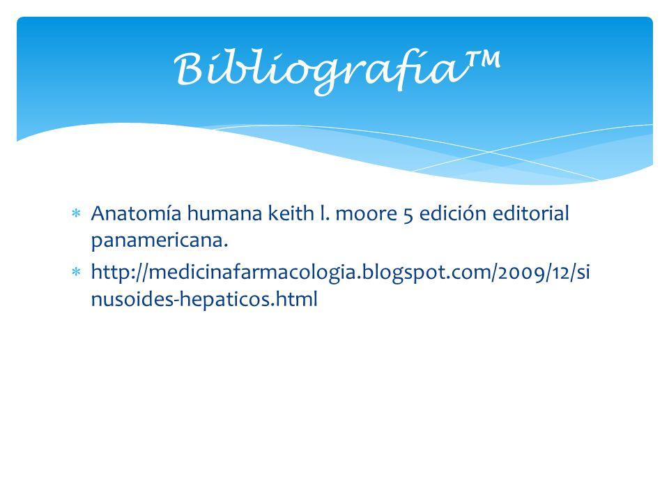 Anatomía humana keith l. moore 5 edición editorial panamericana. http://medicinafarmacologia.blogspot.com/2009/12/si nusoides-hepaticos.html Bibliogra