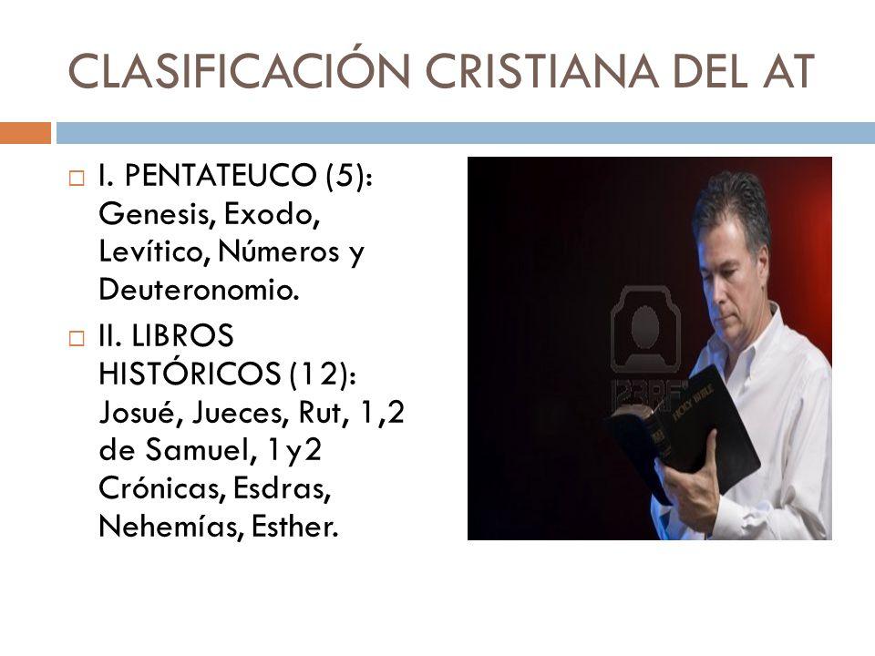 CLASIFICACIÓN CRISTIANA DEL AT I. PENTATEUCO (5): Genesis, Exodo, Levítico, Números y Deuteronomio. II. LIBROS HISTÓRICOS (12): Josué, Jueces, Rut, 1,
