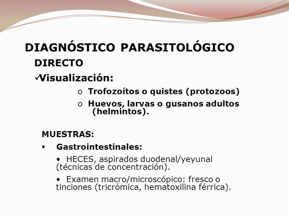 DIRECTO Visualización: o Trofozoítos o quistes (protozoos) o Huevos, larvas o gusanos adultos (helmintos). MUESTRAS: Gastrointestinales: HECES, aspira