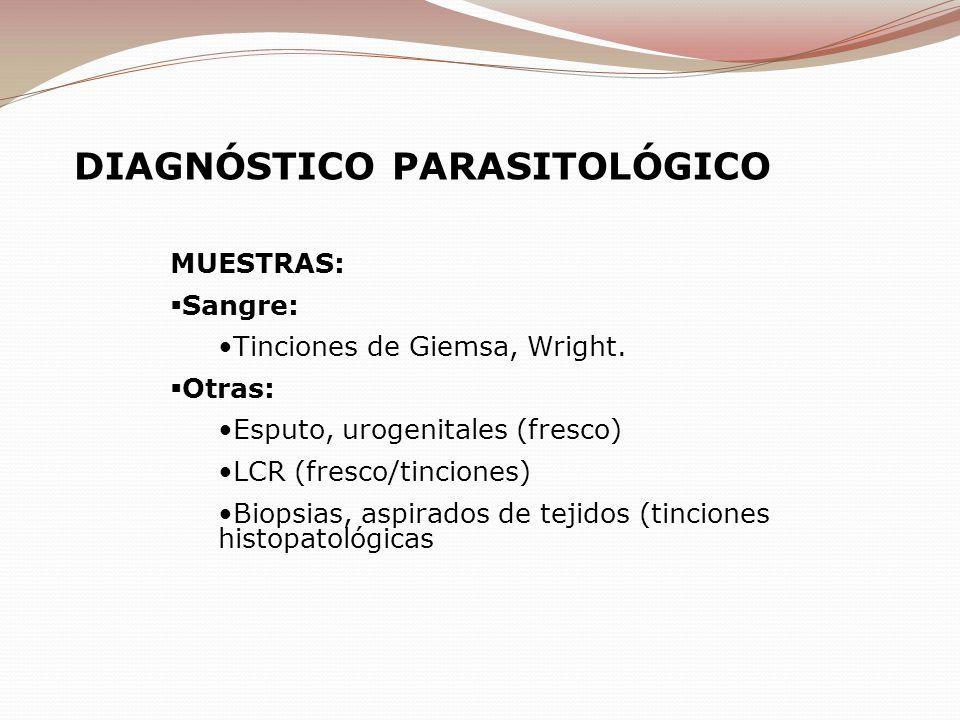 MUESTRAS: Sangre: Tinciones de Giemsa, Wright. Otras: Esputo, urogenitales (fresco) LCR (fresco/tinciones) Biopsias, aspirados de tejidos (tinciones h