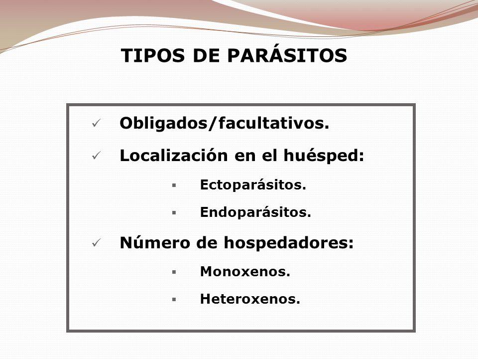 Obligados/facultativos. Localización en el huésped: Ectoparásitos. Endoparásitos. Número de hospedadores: Monoxenos. Heteroxenos. TIPOS DE PARÁSITOS