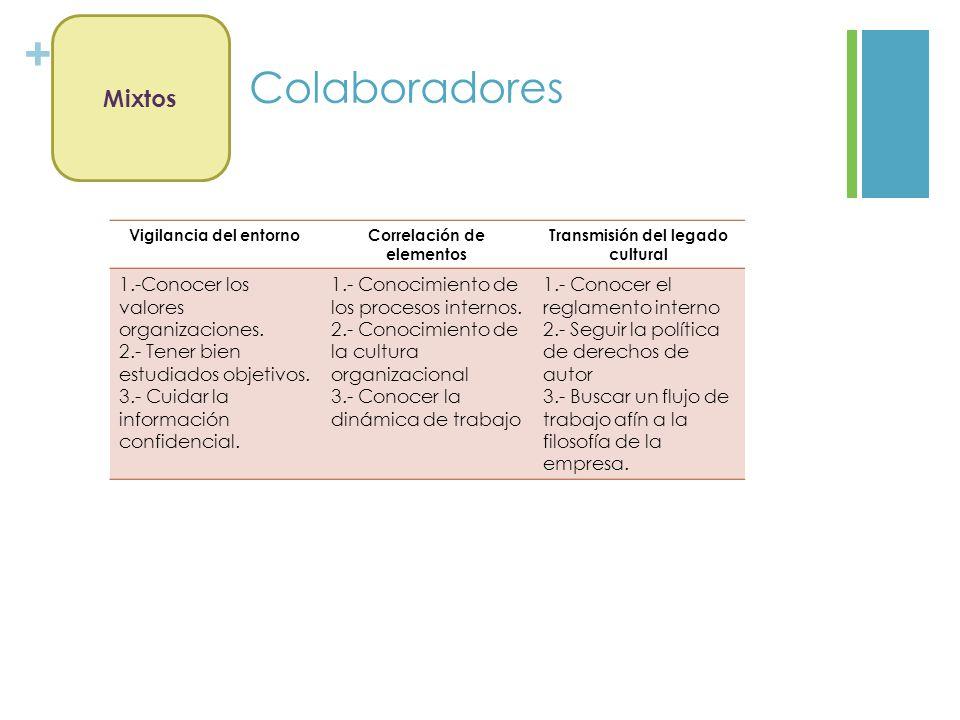 + Colaboradores Mixtos Vigilancia del entornoCorrelación de elementos Transmisión del legado cultural 1.-Conocer los valores organizaciones. 2.- Tener