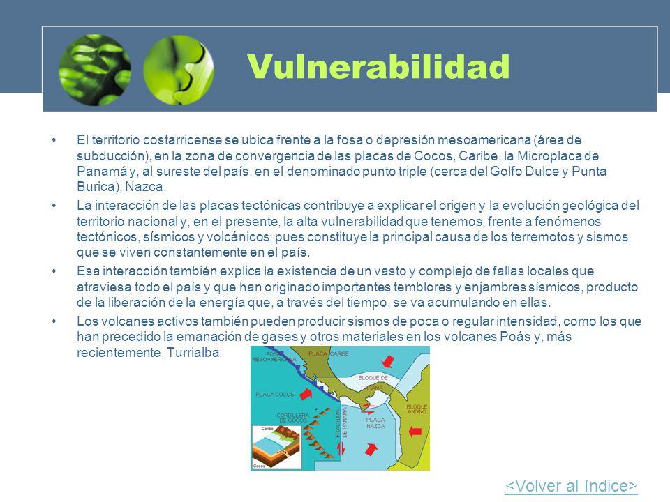 Vulnerabilidad El territorio costarricense se ubica frente a la fosa o depresión mesoamericana (área de subducción), en la zona de convergencia de las