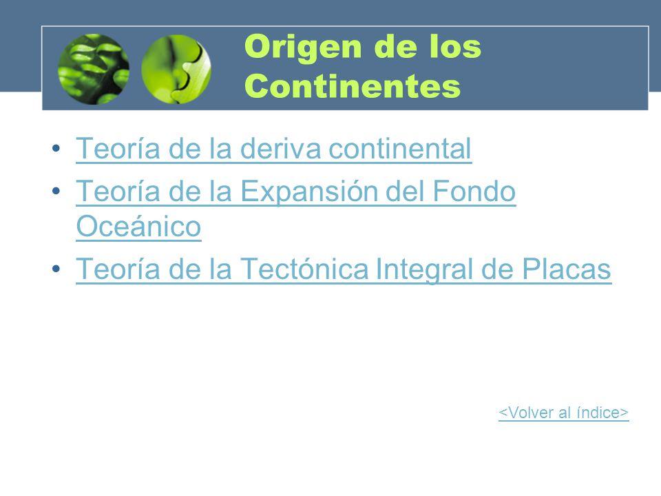 Origen de los Continentes Teoría de la deriva continental Teoría de la Expansión del Fondo OceánicoTeoría de la Expansión del Fondo Oceánico Teoría de
