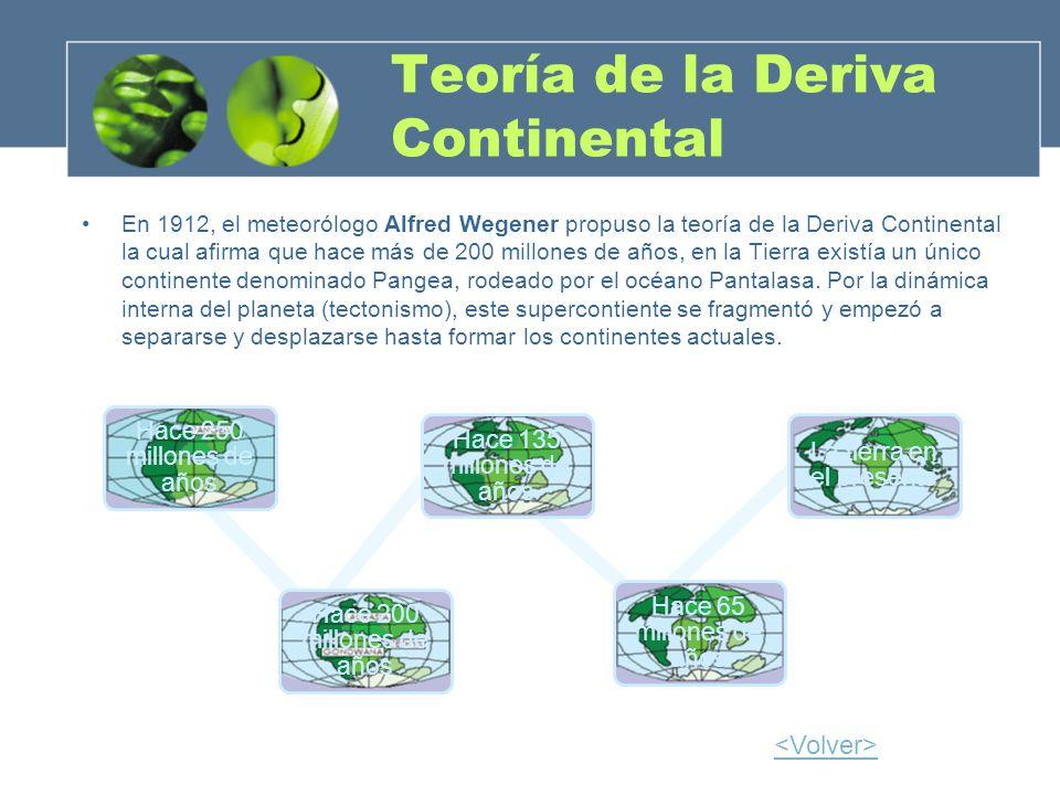 Teoría de la Deriva Continental En 1912, el meteorólogo Alfred Wegener propuso la teoría de la Deriva Continental la cual afirma que hace más de 200 m