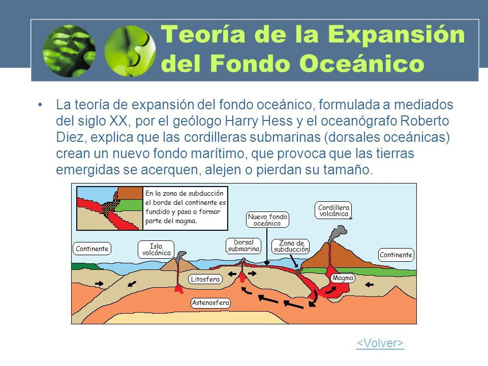 Teoría de la Expansión del Fondo Oceánico La teoría de expansión del fondo oceánico, formulada a mediados del siglo XX, por el geólogo Harry Hess y el