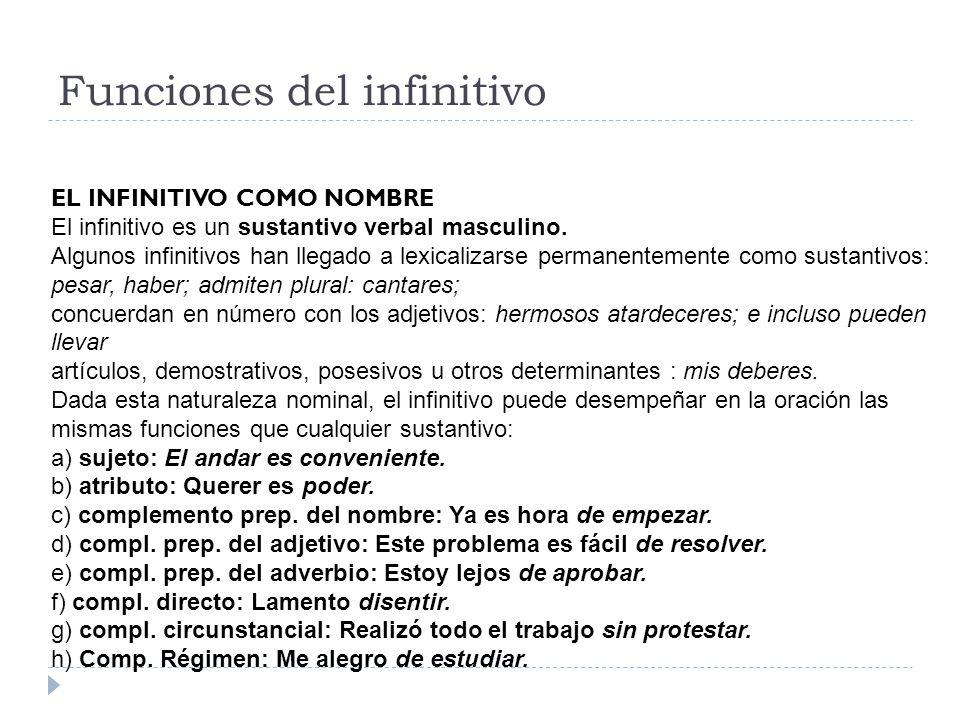 Funciones del infinitivo EL INFINITIVO COMO NOMBRE El infinitivo es un sustantivo verbal masculino. Algunos infinitivos han llegado a lexicalizarse pe