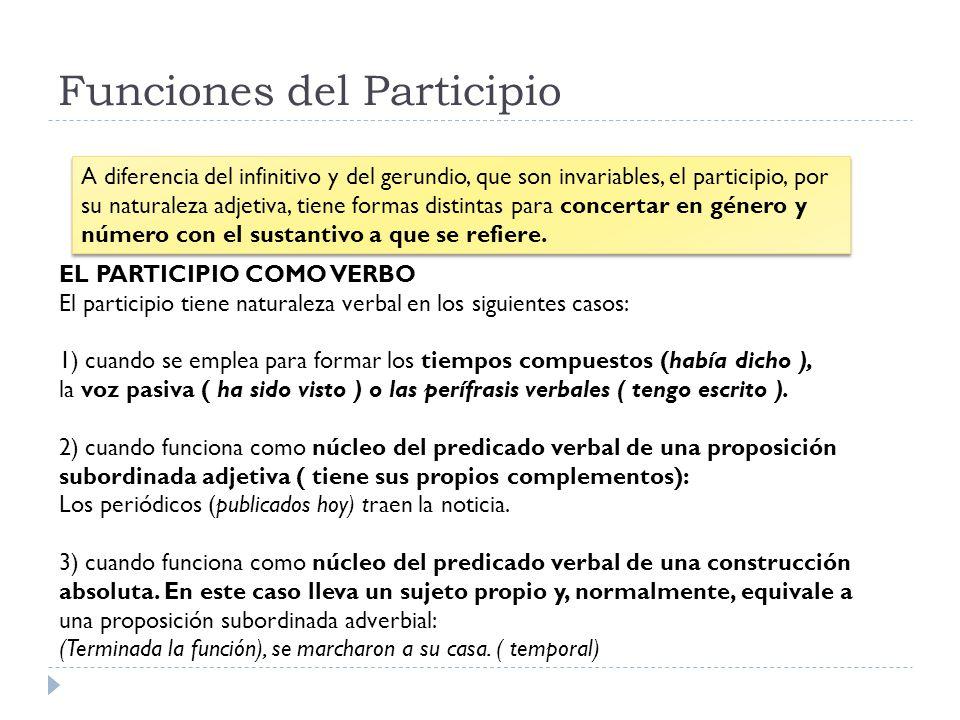 Funciones del Participio A diferencia del infinitivo y del gerundio, que son invariables, el participio, por su naturaleza adjetiva, tiene formas dist