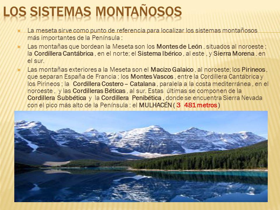 La meseta sirve como punto de referencia para localizar los sistemas montañosos más importantes de la Península : Las montañas que bordean la Meseta son los Montes de León, situados al noroeste ; la Cordillera Cantábrica, en el norte; el Sistema Ibérico, al este, y Sierra Morena, en el sur.