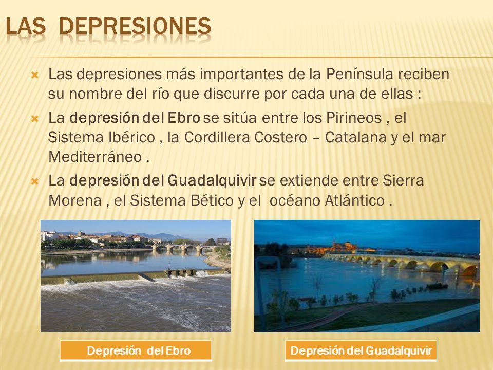 Las depresiones más importantes de la Península reciben su nombre del río que discurre por cada una de ellas : La depresión del Ebro se sitúa entre los Pirineos, el Sistema Ibérico, la Cordillera Costero – Catalana y el mar Mediterráneo.