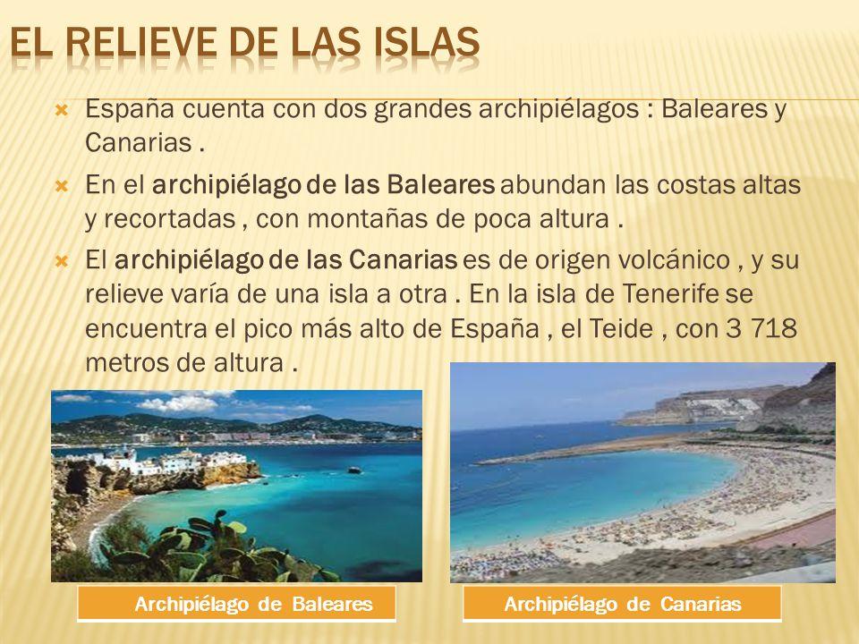 España cuenta con dos grandes archipiélagos : Baleares y Canarias.