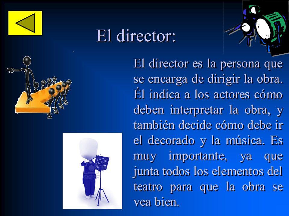 El director: El director es la persona que se encarga de dirigir la obra. Él indica a los actores cómo deben interpretar la obra, y también decide cóm