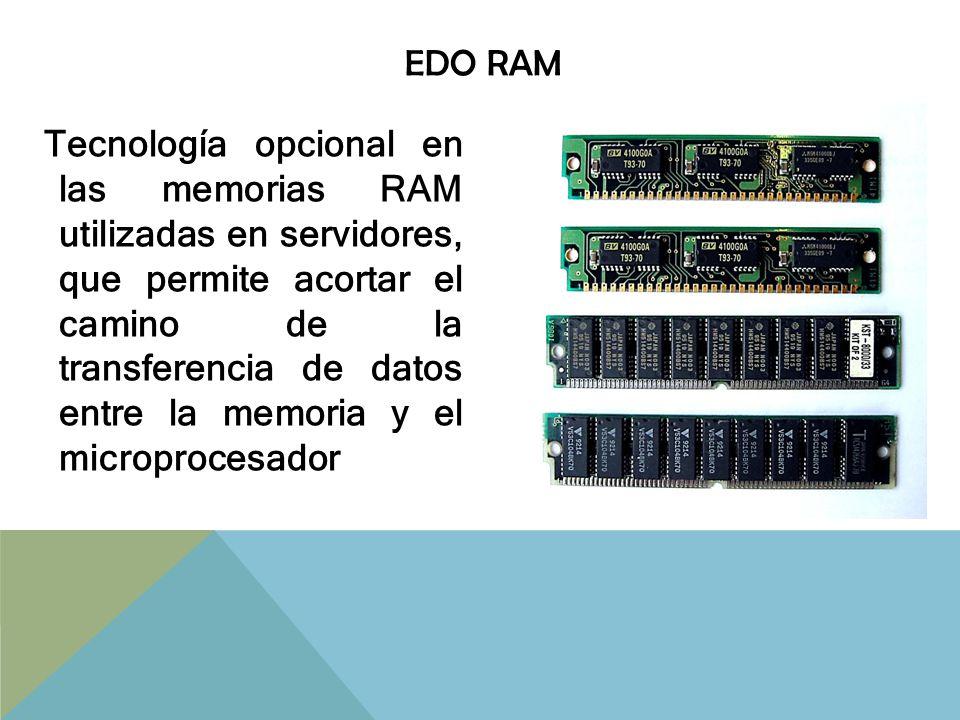 BEDO RAM Tecnología opcional; se trata de una memoria EDO RAM que mejora su velocidad gracias al acceso sin latencias a direcciones contiguas de memoria