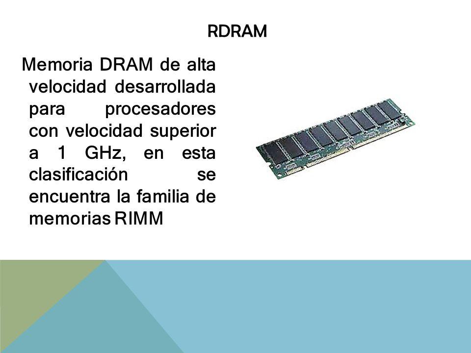 SRAM/CACHÉ Memoria RAM muy veloz y relativamente cara, construida con transistores, que no necesitan de proceso de refresco de datos; se encuentra integrada dentro de procesadores y discos duros