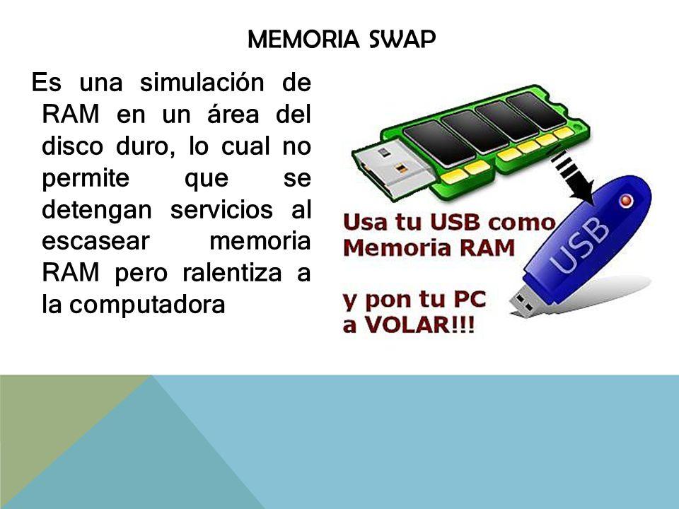 Actualmente se puede crear SWAP en una memoria USB por medio del Software ReadyBoost de Microsoft® Windows Vista, 7 u otros programas para Microsoft® Windows XP y así volver más eficiente el equipo de cómputo