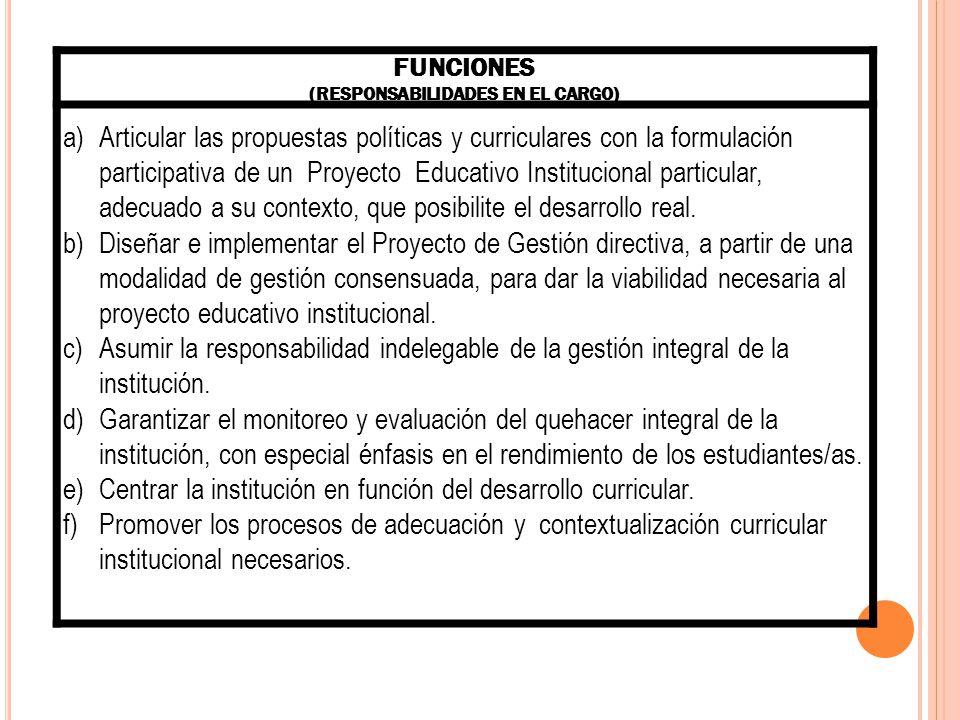 FUNCIONES (RESPONSABILIDADES EN EL CARGO) g)Fortalecer los vínculos intra e interinstitucional sumiendo un liderazgo pedagógico, estratégico y comunitario.