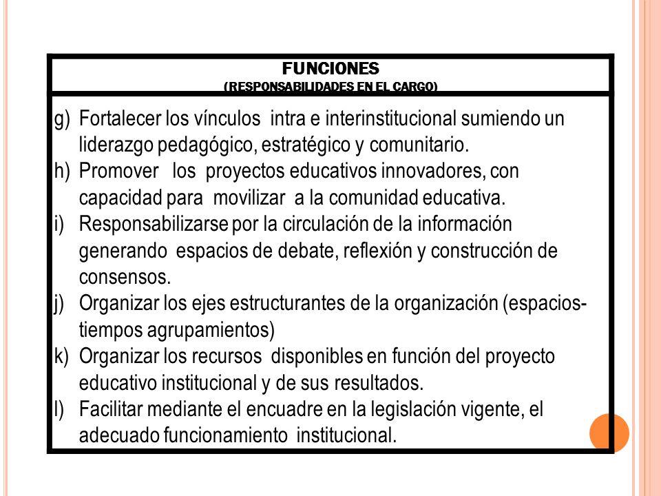 COMPETENCIAS ESPECÍFICAS: (CONOCIMIENTOS, ACTITUDES, HABILIDADES, VALORES, CAPACIDADES QUE SE MOVILIZAN EN EL DESEMPEÑO DE LAS FUNCIONES) Asegurar la participación de los principales actores de la comunidad en el desarrollo del proyecto educativo institucional.