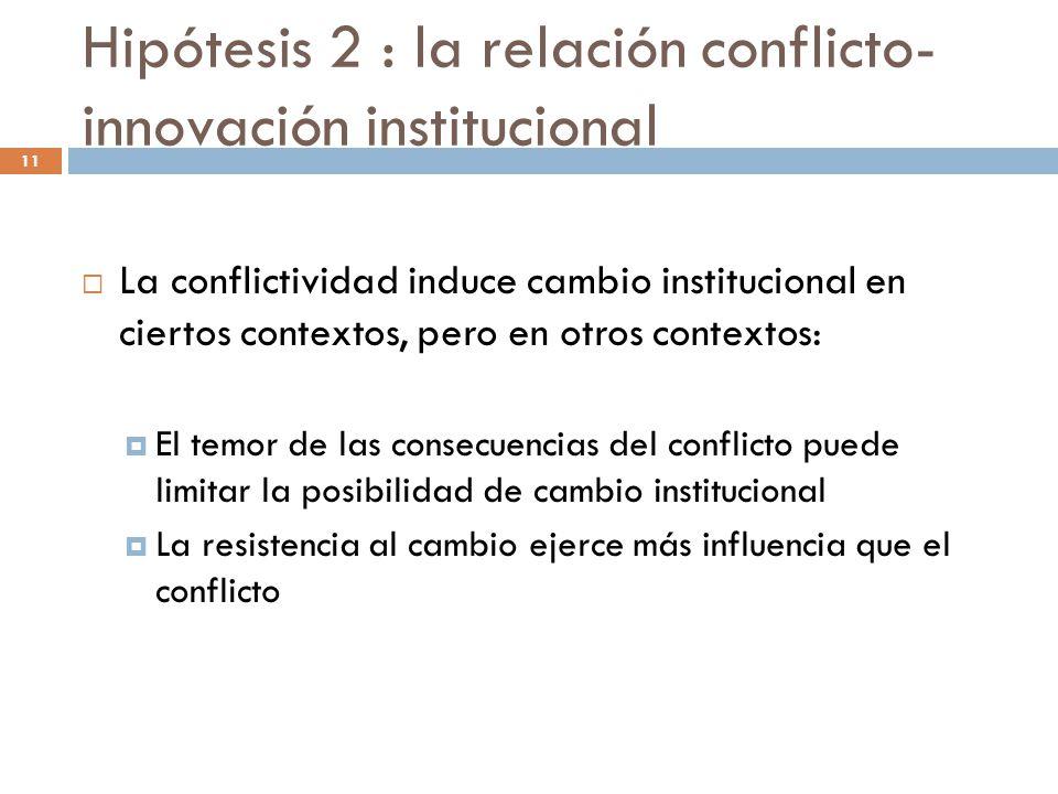 Hipótesis 2 : la relación conflicto- innovación institucional La conflictividad induce cambio institucional en ciertos contextos, pero en otros contex