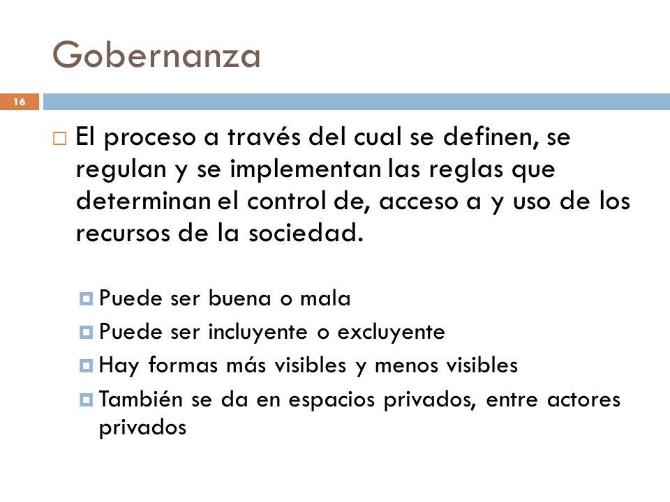 Gobernanza El proceso a través del cual se definen, se regulan y se implementan las reglas que determinan el control de, acceso a y uso de los recurso