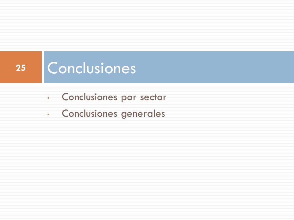 Conclusiones por sector Conclusiones generales Conclusiones 25