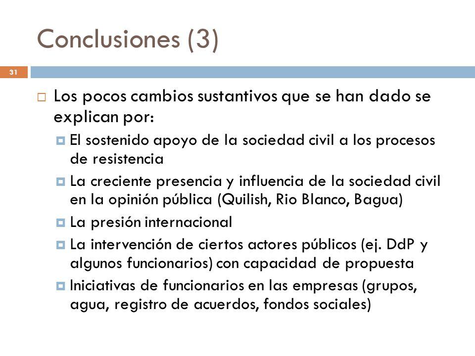 Conclusiones (3) Los pocos cambios sustantivos que se han dado se explican por: El sostenido apoyo de la sociedad civil a los procesos de resistencia